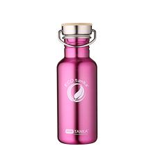 ECOtanka miniTANKA 600ml stainless steel pink water bottle with steel & bamboo lid