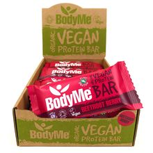 BodyMe Organic Vegan Protein Bar - Beetroot Berry - 12 x 60g