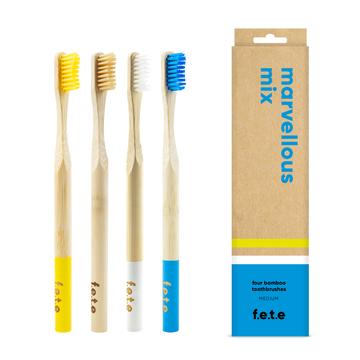 f.e.t.e | 'Marvellous Mix' Medium Bamboo Toothbrush Multipack